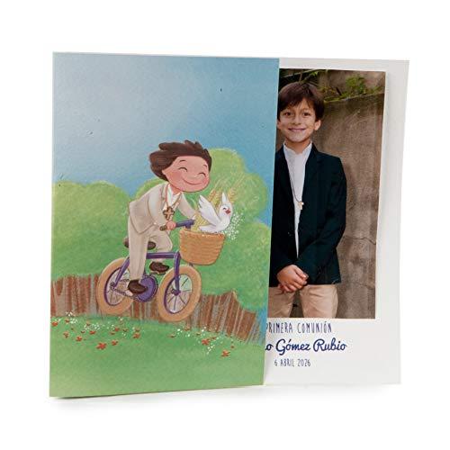Mopec X9120.3 Portafoto de Comunión niño en Bici, Pack de 25, Cartulina, Multicolor, Talla única