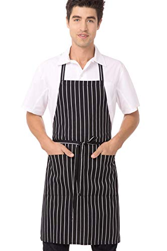 "powerful Chef Works Bib Apron, Black and White Chalk Stripes, 34.25 ""(L x 27″) W."