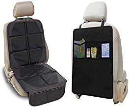 Car Seat Protector Set WellKool Car Seat Protector and Kick Mat Auto Seat Back Protector with 3 Organizer Pockets, Durable Quality Seat Covers + Waterproof Kick Guards to Protect Your Leather