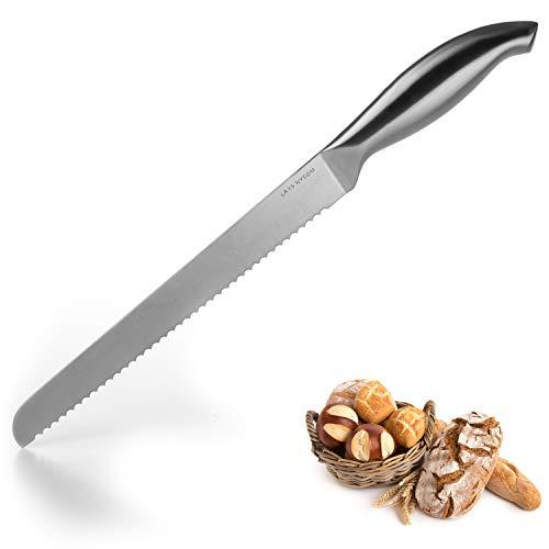 LARS NYSØM Brotmesser Edge aus rostfreiem Edelstahl I Hochwertiges Allzweckmesser I Brotsäge mit extra-scharfer und Langer Klinge (23 cm) I Küchenmesser mit Wellenschliff