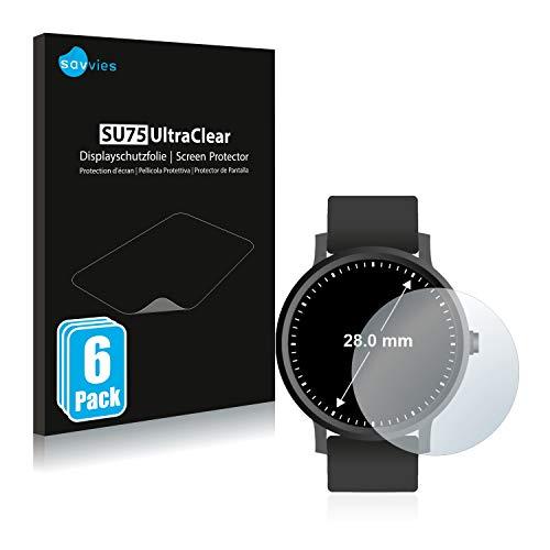 Savvies 6X Schutzfolie kompatibel mit Armbanduhren (Kreisrund, Durchmesser: 28 mm) Displayschutz-Folie Ultra-transparent