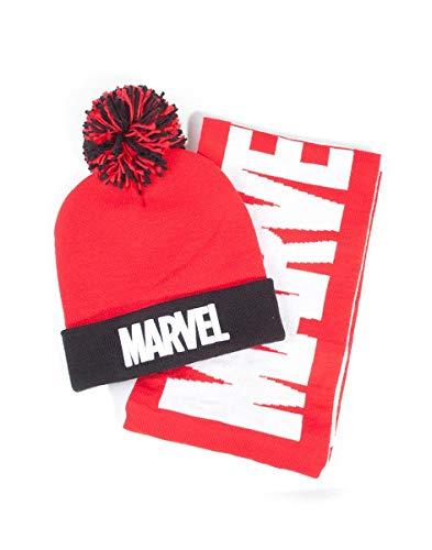 Marvel Comics Logo Bobble Beanie & Scarf Gift Set conjunto bufanda, gorro...