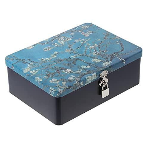 Cabilock Weißblech Lagerung Box mit Vorhängeschloss Retro Stil Zinn Kanister Schokolade Candy Tee Kaffee Kosmetik Schmuck Fotos Geschenk Fall Kann für Home Küche Apricot