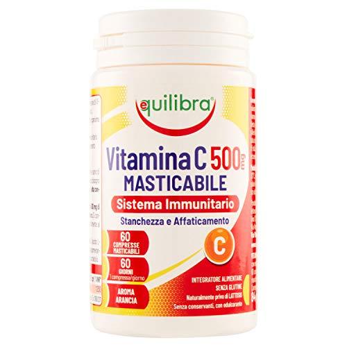 Equilibra Integratori Alimentari, Vitamina C 500 mg, Integratore per la Normale Funzione del Sistema Immunitario, Riduce Stanchezza e Affaticamento, Aroma Arancia, 60 Compresse Masticabili