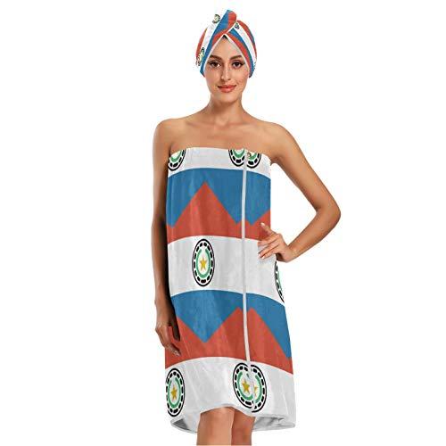 Toalla de baño con diseño de bandera de Paraguay con cierre ajustable