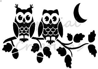 2 OWLS ON A BRANCH Tree Acorns Moon Night 8.5
