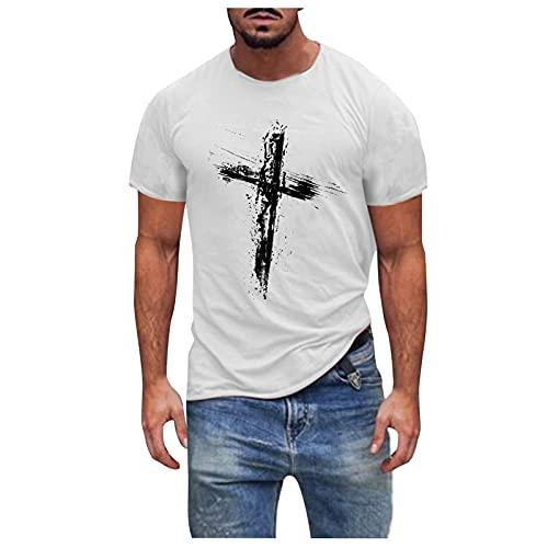 EUCoo Camisetas de manga corta para hombre con cuello redondo y estampado de fe, camisetas musculares, fitness, verano, casual, blusas, Blanco-1, XL