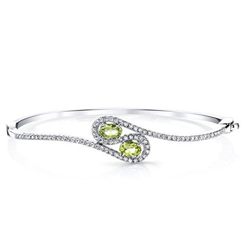 Peridot Infinity Hinged Bangle Bracelet by Peora