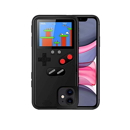 MWH Gameboy Case for iPhone 12,Built-in 36 Retro Games,kobwa Mario Nintendo Games,Screen Protector,Full Color Screen Video Game Console Case for iPhone (Black)