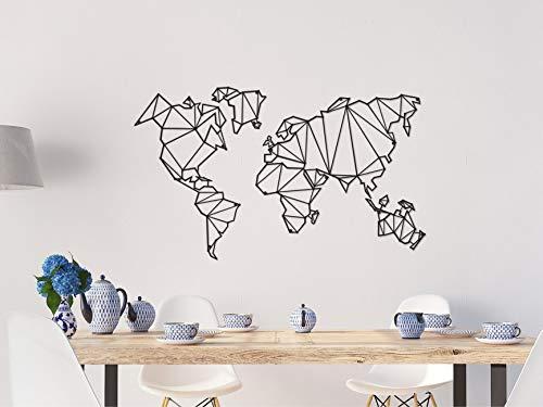 Homemania - Decoración de pared con mapamundi de metal, color negro, para salón, oficina, pared, planificador, talla única