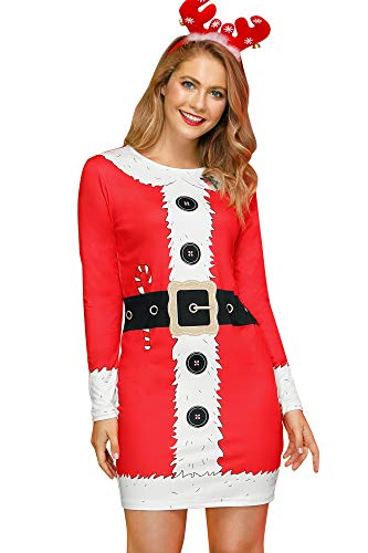 For G and PL Women's Christmas Dress Cute Printed Santa Claus Candy Runic Dresses M