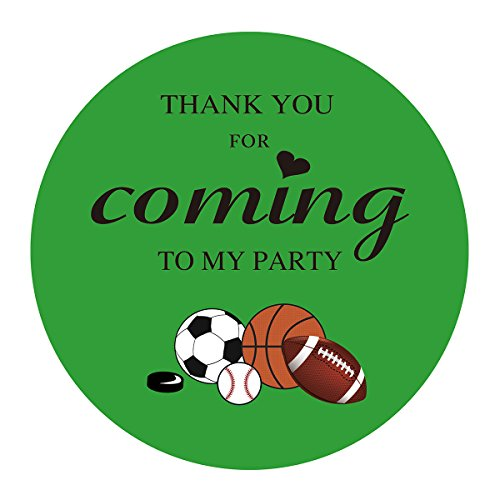 MAGJUCHE Sports Thank You Stickers, Kids All Sports Themed Birthday Party Favor Sticker Labels, 2 inch, 40-Pack