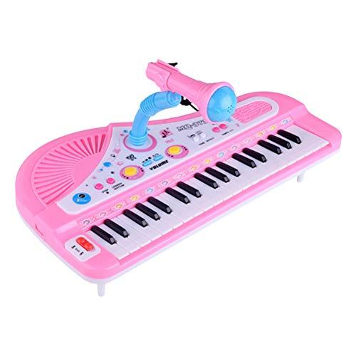 SUPVOX kindertoetsenbord met microfoon, babypiano met 37 key speelgoed (roze/zonder batterij)
