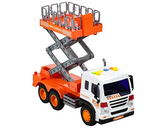 Gear Box Spielzeug LKW mit Arbeitsbühne, Friktionsantrieb, manuell hochfahrbare Hebebühne, Licht und Ton-Funktion, Maßstab: 1:16
