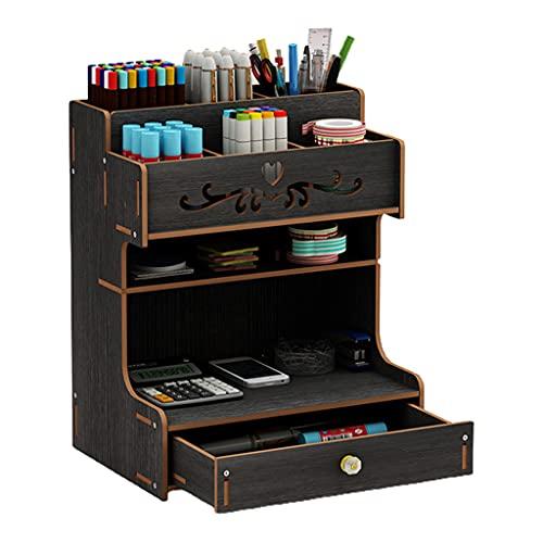 KunmniZ Soporte de madera para bolígrafos con cajón de escritorio multifuncional caja de lápices de escritorio de ahorro de espacio decoración para el hogar accesorios de gestión de almacenamiento