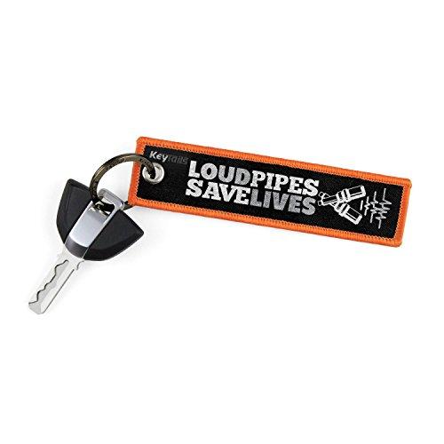 KeyTails Premium-Qualität Motorrad Schlüsselanhänger Schlüsselring Kratzfest Ideal für Ihr Motorrad, Auto [Loud Pipes Save Lives]