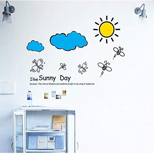 KUMAMON Abnehmbare Wandaufkleber Sky Sun White Cloud Wohnzimmer Sofa Hintergrund Dekoration Aufkleber