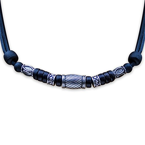 HANA LIMA ® Halskette ohne Anhänger Surferkette Lederkette Herrenkette Edelstahl