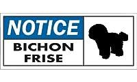 NOTICE BICHON FRISE ワイドマグネットサイン:ビションフリーゼ Sサイズ