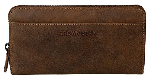 Brown Bear Geldbörse Damen Leder Braun Vintage RFID Schutz & Reißverschluss umlaufend lang groß viele Fächer Geldbeutel Frauen Portemonnaie Portmonaise Portmonee Ledergeldbeutel Ledergeldbörse