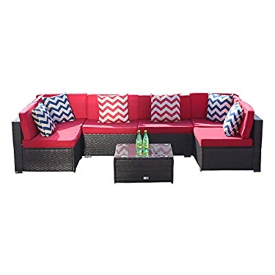 LUCKWIND Patio Conversation Sectional Sofa Chair Table - 7 Piece All-Weather Brown Wicker Rattan Seating Cushion Patio Ottoman Modern Glass Coffee Table Outdoor Accend Pillow 300lbs