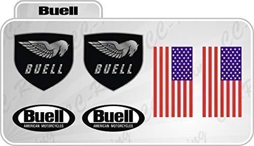Set 6 Aufkleber Buell Verschiedene Größen + Usa-Flagge