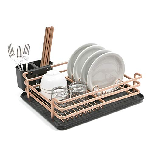 Escurreplatos Rosa de Oro de aluminio Espacio Estante for Platos Escurridor organizador de la cocina la placa del almacenaje del plato estante de secado (Color : Rose Gold)