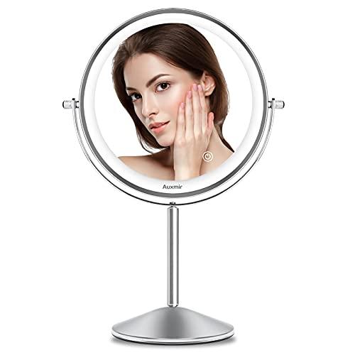 Auxmir Espejo Maquillaje con Luz LED, Aumento de 1X/10X, Espejo Cosmético Moderno Doble Cara Giratorio 360, Táctil, con Pilas, Plata