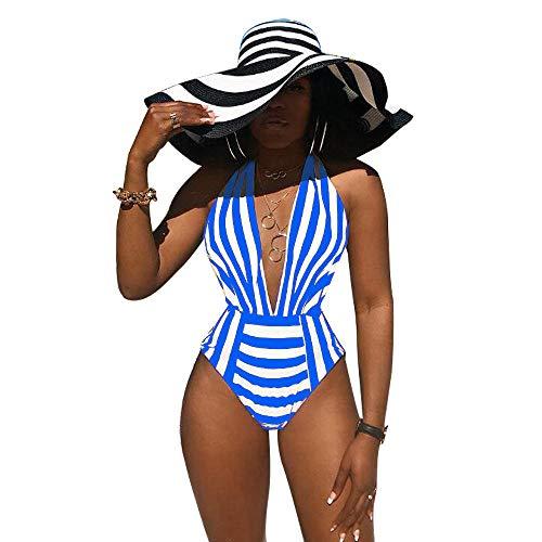 Corsés para Mujer Mujeres A Rayas con Cuello En V Profundo Halter Sin Mangas Bodycon Skinny Sexy Body De Una Pieza Beach Waist Outfits-B_S