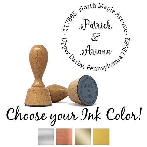 Custom Classic European Hand Stamp with Metallic Ink Pad | Solid Oak European Hand Stamp | Design 4