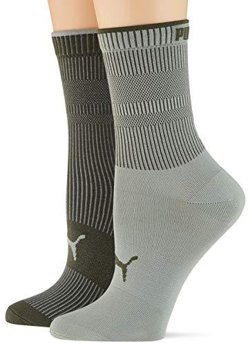 PUMA Women's Ribbed Socks (2 Pack) Chaussette décontractée, Vert Aqua, 35/38 (Lot de 2) Femme
