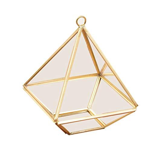 Faviye Geometrische juwelendoos, transparant, glas, terrarium box voor oorbellen, bloem, vetplanten, decoratie
