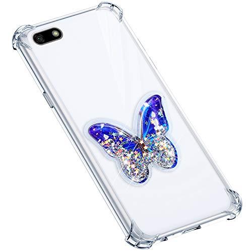 Uposao Compatible avec Coque Huawei Y5 2018 Coque en Silicone Transparent Cute Motif Glitter Luxe Bling Paillette Etoiles Liquide Cristal Clair Ultra Fine Souple Gel TPU Bumper,Papillon Violet