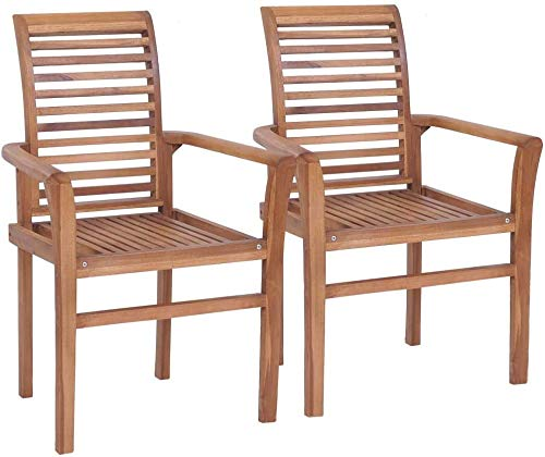 Stackable Dining Chairs Wooden Chairs Garden Chairs Terrace Garden,Brown