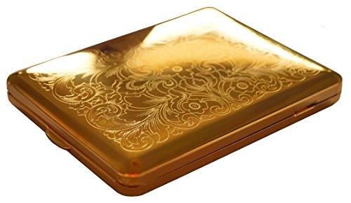 GERMANUS Zigarettenetui, Made in Germany, 100 mm, Mit echtem Gold vergoldet, Motiv V
