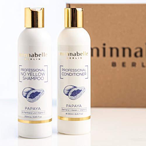minnabelle Berlin Professional Haarpflege Geschenk-Set I 1x NoYellow Shampoo + 1x Conditioner mit Papaya Duft, Phantenol, Keratin und Vitamin E