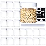 24Pack 8oz Plastic Jar Storage Container with White Lids Airtight Clear Wide-mouth Slime Storage Jars for Cosmetic Cream Light Clay