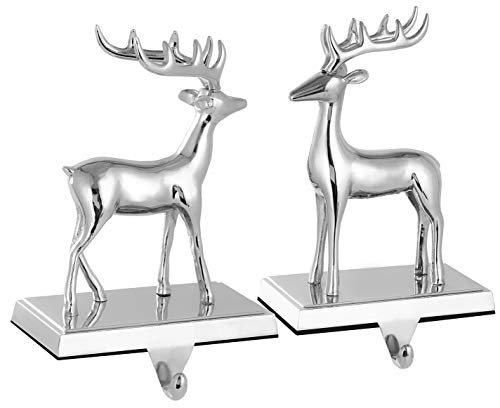 Yuokwer Christmas Reindeer Stocking Hanger for Mantel,Metal Silver Reindeer Stocking Holder for Fireplace and Christmas Party Decoration (Reindeer Set of 2)