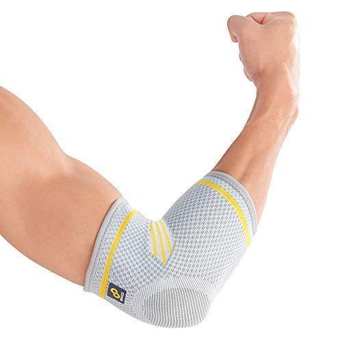 Bracoo elastische Ellenbogenbandagen (1 Paar) - Ellenbogen Bandagen mit Kompressionseffekt - Ellbogenbandage für Sport & Alltag, Damen & Herren, Links und rechts - EE90 (Extra Large)