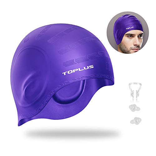 Toplus Swim Cap, Silicone Swimming Cap Waterproof Unisex Swimming Caps Non-Slip 3D Ergonomic Design Ear Pockets for All Ages and All Hair Lengths
