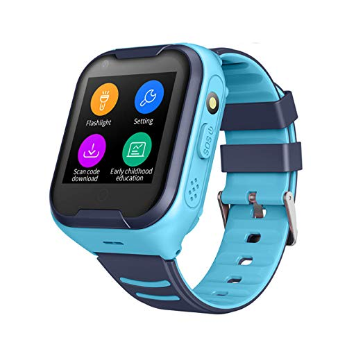 Waterproof GPS Smart Watch, Laxcido 4G Video Phone Call Real-time Tracking Camera SOS Alarm Geo-Fence Touch Screen Monitoring Health Steps Flashlight Anti-Lost GPS Tracker Watch (Blue)