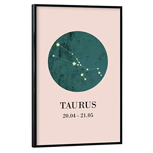 artboxONE Poster mit schwarzem Rahmen 45x30 cm Typografie Stier - Bild Zodiac Taurus Sternzeichen