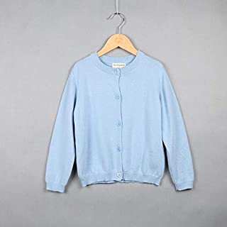 Clothing Spring and Autumn Children Clothing Girl Cotton Knit Cardigan Sweater, Kid Size:120cm(Light Yellow) Clothing (Color : Light Blue)