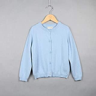 ملابس الاطفال Spring and Autumn Children Clothing Girl Cotton Knit Cardigan Sweater, Kid Size:120cm(Light Yellow) ملابس الأولاد (Color : Light Blue)