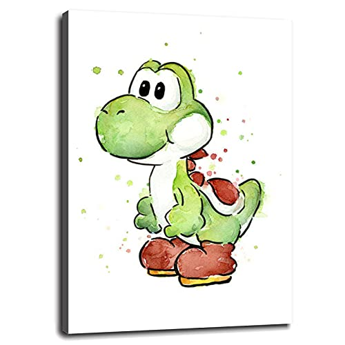 Zkspot Yoshi Poster Canvas Prints Wall Art For Home Office Bedroom Decorations With Framed 10'x8'