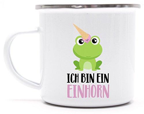 süße Geschenkidee Unicorn Eis Ice Cream bedruckte Metalltasse Emaille Camping Tasse mit Spruch Motiv Frosch - Ich bin ein Einhorn, Größe: onesize,weiß/silber