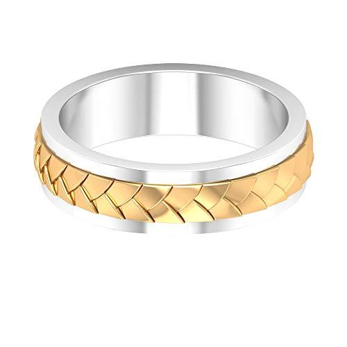 Fede nuziale in metallo misto, con incisione in oro anticato, anello di fidanzamento da uomo, anello di anniversario per lui, anello padre, anello per sposi, 18K Oro bianco, Size:EU 70