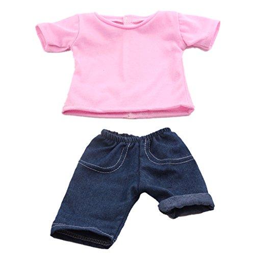 Ensemble T-shirt Et Short Jeans Vêtements Costume Pour Poupée 18 inch Doll Fille Américainne - Rose