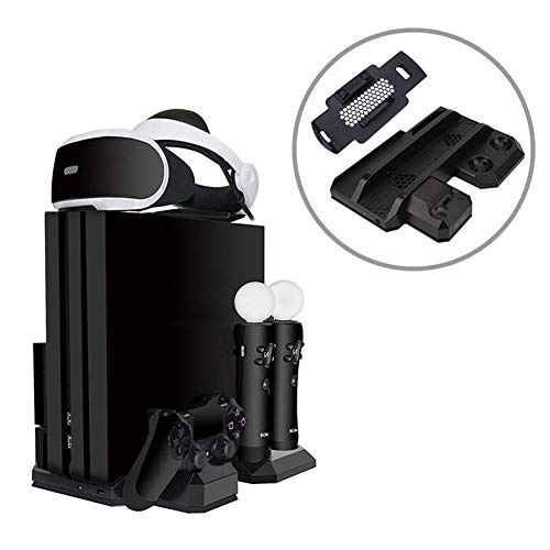 Cargador PS4 y estación de Carga Multifuncional con Soporte Vertical para Juegos, 2 Soportes de radiador con Ventilador de enfriamiento y Soporte para Auriculares PSVR para PS4 / Slim/Pro / PSVR1 y