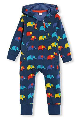 kIDio Bio-Baumwolle Kuschelanzug mit Kapuzen - Baby Mädchen Junge (0-2 Jahre) (18M (12-18 Monate), Blau Elefant)